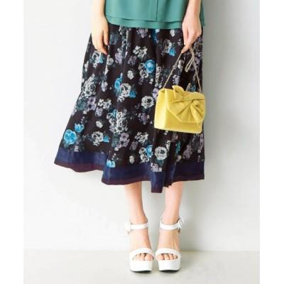 【大きいサイズ】 裾オーガンジー切替花柄ロングスカート(MIIA) スカート, plus size skirts