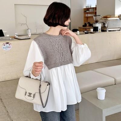 [COCOBLACK] ニット+シフォンで春まで着用しやすいラブリーなデザインのブラウス:)