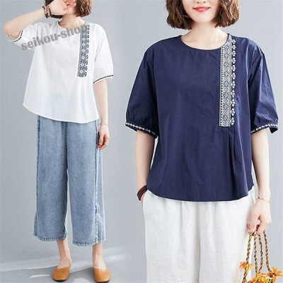 Tシャツ プルオーバー レディース Uネック 刺繍柄 かわいい 通気性がいい 半袖 大きいサイズ ややゆとりのある身頃で自然に体型カバー