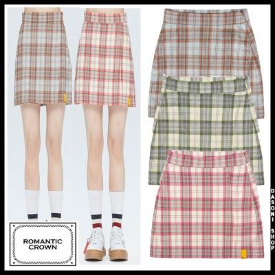 [送料無料] GNAC CHECK WRAP SKIRT レディース チェック柄 スカート 3色  /韓国ファッション/韓国服/BTS着用/ロマンティッククラウン