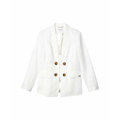 カルバンクライン コート アウター レディース Linen Double Breasted Jacket White