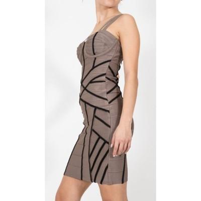 ドレス ハウスオブハーロウ Stretta Charlotte Bandage Sexy Black/Tan Dress