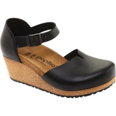 ビルケンシュトック Birkenstock レディース サンダル・ミュール ウェッジソール シューズ・靴 Papillio Mary Wedge Mary Jane Black Leather