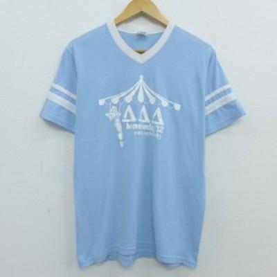 古着 半袖 Tシャツ home coming 大学 カレッジ Vネック 薄紺 ネイビー Mサイズ 中古 メンズ Tシャツ 古着