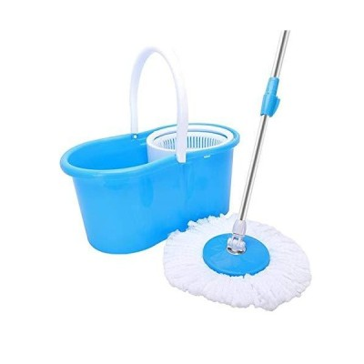 Spin Mop and Bucket Sytem ?360° Spin Mop with Stackable Bucket On Wheels and 2 Machine Washable Microfiber Mop Heads
