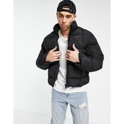 エイソス メンズ ジャケット・ブルゾン アウター ASOS DESIGN square quilt recycled cropped puffer jacket in black