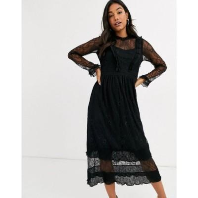 ワイ エー エス Y.A.S レディース ワンピース ミドル丈 ワンピース・ドレス lace midi dress with ruffle detail in black ブラック