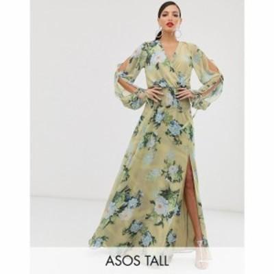 エイソス ASOS Tall レディース ワンピース ワンピース・ドレス ASOS DESIGN Tall smock maxi dress in occasion bloom print Green flor