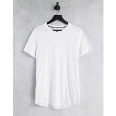 ジャック アンド ジョーンズ メンズ シャツ トップス Jack & Jones Core t-shirt with rubber chest logo in white
