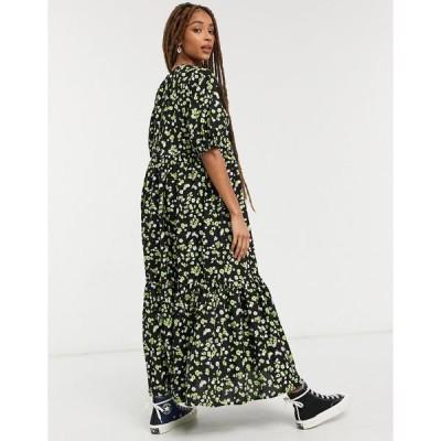 エイソス レディース ワンピース トップス ASOS DESIGN tiered cotton smock midi dress in floral print Black / green floral
