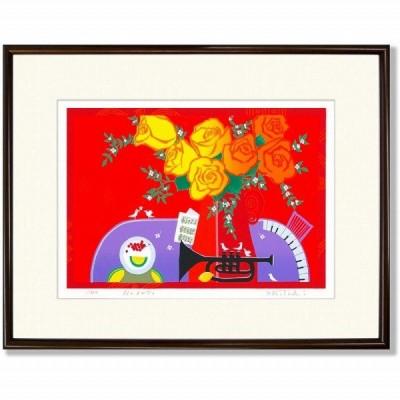 吉岡浩太郎『花のメロディ・大衣(ブラウン)』シルクスクリーン 版画 新品 額付 作者直筆サイン 風景画 薔薇 テーブル 花瓶 トランペット【AHA-DK-030T】