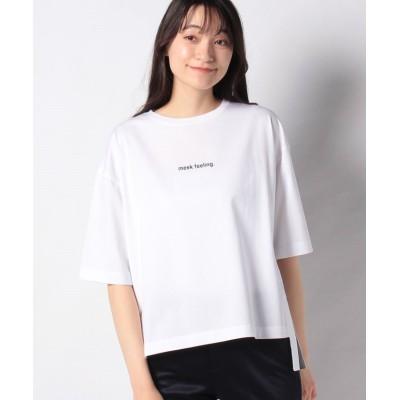 (BARNYARDSTORM/バンヤードストーム)シルケットサイドスリットプリントTシャツ/レディース オフホワイト