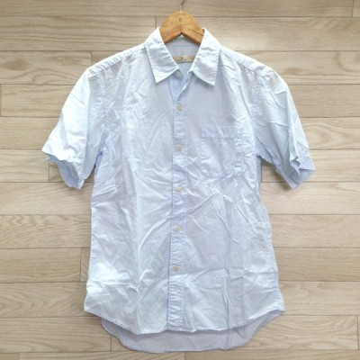 GLOBAL WORK グローバルワーク シャツ メンズ 半袖 薄水色 カジュアル 古着 サイズS YD270
