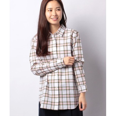 【エーグル】 コットンリネンチェックシャツ レディース OFFWHITE M AIGLE