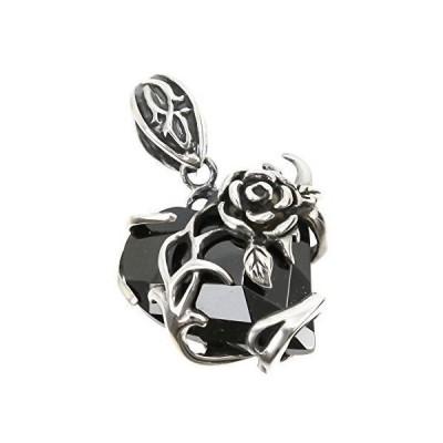 ジナブリング (JINA BRING) 3色のハート型ジュエル 巻き付くローズ 薔薇の花 ブラック シルバー925 ペンダント