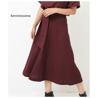【Settimissimo】 Portcrosリネンタッチサッシュベルト付きフレアースカート