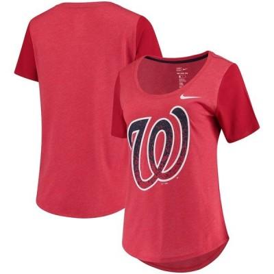 ナイキ Tシャツ トップス レディース Washington Nationals Nike Women's Tri-Blend Scoop Neck T-Shirt Red
