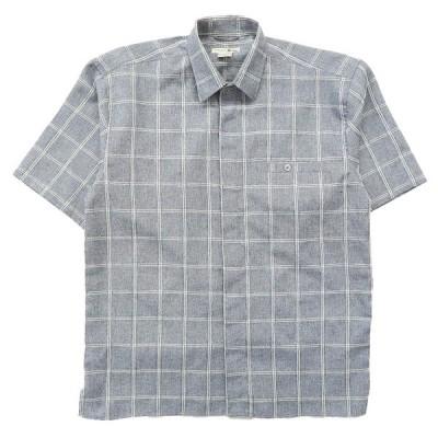 古着 半袖シャツ チェック ボックス ブルーグレー ホワイト サイズ表記:L