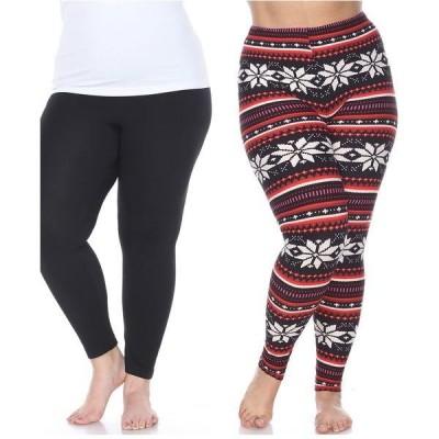 ホワイトマーク カジュアルパンツ ボトムス レディース Pack of 2 Plus Size Leggings Black Blac