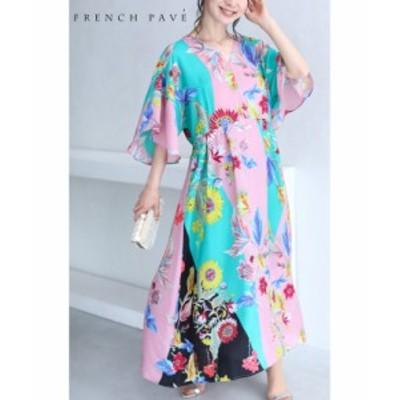 8月18日20時販売新作 w69949(S~L対応)「FRENCH PAVE」鮮やかな配色に描く花絵ロングワンピース ワンピース レディース cawaii フ