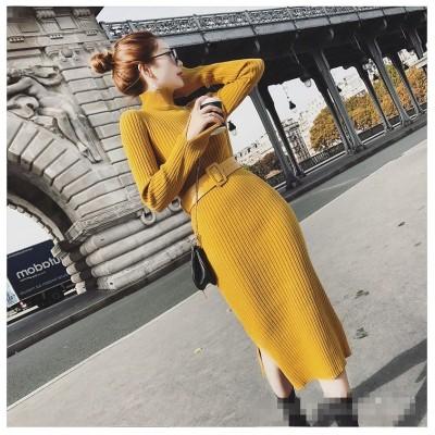 新しい女性の気質は スリム  ニット ワンビース 秋冬 ボトミングシャツ セーター ドレスバッグヒップ ニット ワンピース お洒落なオフィススタイル提案 細身 普段着 通勤