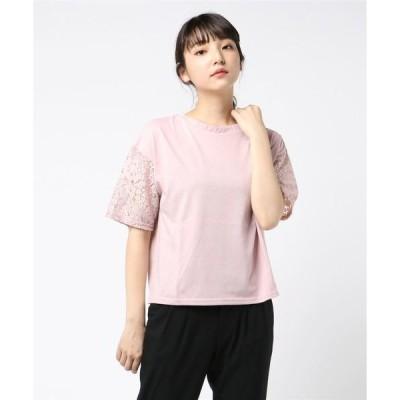 tシャツ Tシャツ 2WAYフリルレース切替半袖Tシャツ