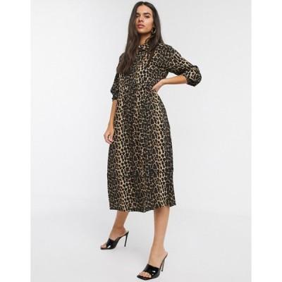 ヴェロモーダ レディース ワンピース トップス Vero Moda midi shirt dress with puff sleeves in leopard print