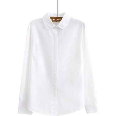 ブラウス シャツ レディース 長袖 オフィス ワイシャツ 長袖 丸襟 通勤 通学 シンプル ホワイト かわいい(s2111130231)