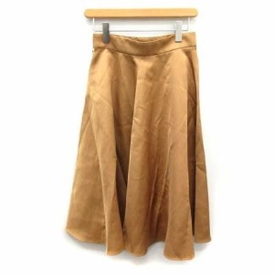 【中古】ドレステリア DRESSTERIOR スカート ロング フレア サテン 38 ベージュ /NT14 ▲H レディース