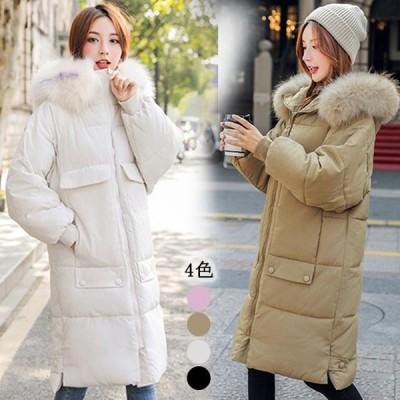 韓国 ファッション ダウンコート ポケット付き ゆったり お洒落 ミディアム丈 冬服 20代 30代 40代 厚手 防風 防寒