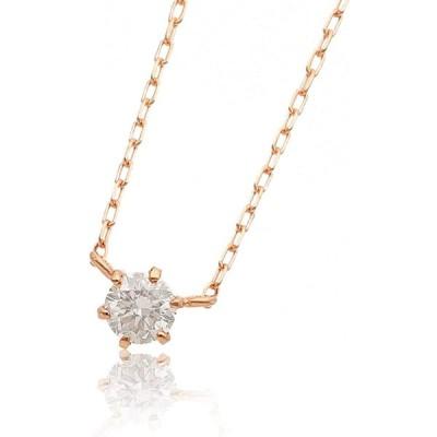 LandCo. (エルアンドコー) 【ペーパーボックス&バッグ付】 K18 シンプル ダイヤモンド 0.1ct 1粒 ネックレス 両吊りデザイン (ピ