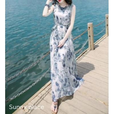 韓国 ファッション レディース ワンピース リゾートワンピ ロング シフォン 花柄 大きいサイズ ノースリーブ ゆったり 大人可愛い ビーチ