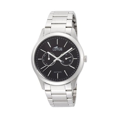 Lotus Men's Quartz Watch with Black Dial Analogue Display and Silver Stainless Steel Bracelet 15954/3 並行輸入品