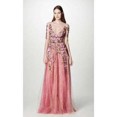 ワンピース マルケッサ  MARCHESA NOTTE Floral Embroidered Lace Gown Tulle Coral Pink Dress 10