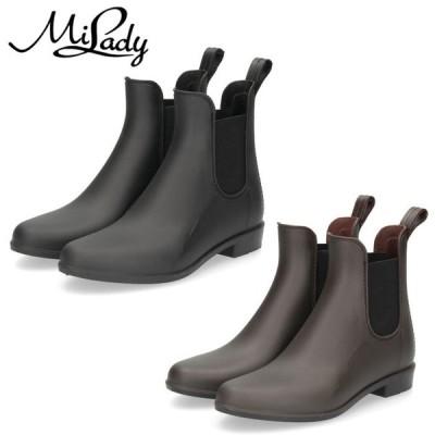 レインブーツ レディース 靴 ショート 黒 ブラック カーキ サイドゴア 防水 ミレディ ML636