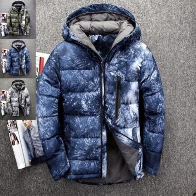 本物ダウンジャケット メンズ 大人気  コート ブルゾン 厚手フード付き 3色スノーボードウェア アウター 防寒