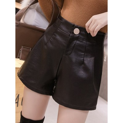 春の服装の皮のショートパンツの女性の2021新型の韓国版のファッションのpu皮の広い足のズボンはレジャーの外で底の靴のズボンを穿きます