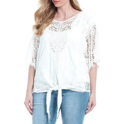 デモクラシー レディース Tシャツ トップス Plus Size Kimono Sleeve Tie-Front Cotton Crochet Top