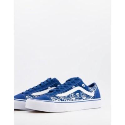 バンズ メンズ スニーカー シューズ Vans Style 36 Bandana sneakers in blue/white Black