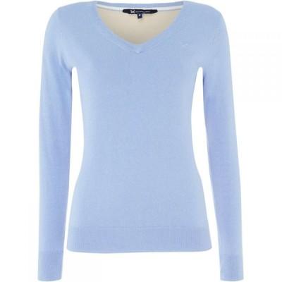 クルークロッシングカンパニー Crew Clothing Company レディース ニット・セーター Vネック トップス Foxy V Neck Jumper Blue