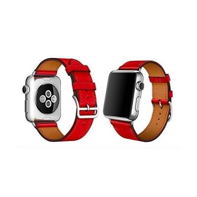 SupTronicsR Apple Watch アップルウォッチ Series 1/2/3/4対応 バンド 本革 (38MM レッド)
