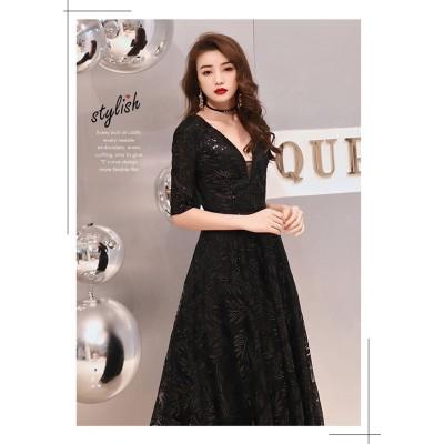 高級でセクシーなドレス  イブニングドレス 新作 深いVネック エレガンス 気高い ファッション 宴会 パーティー ワンビース シンプル 寛大 気質 ロングスカート