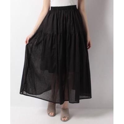 (Gready Brilliant/グレディブリリアン)ラミーローンギャザースカート/レディース ブラック