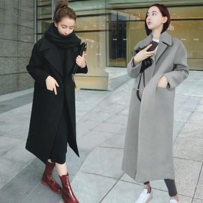 コート ジャケット ノーカラーコート ロング フェイクウールコート 超ロング 体型カバー  大きいサイズ Good Clothes