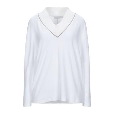 ファビアナフィリッピ FABIANA FILIPPI T シャツ ホワイト 46 コットン 94% / ポリウレタン 6% / リネン / ポリエス