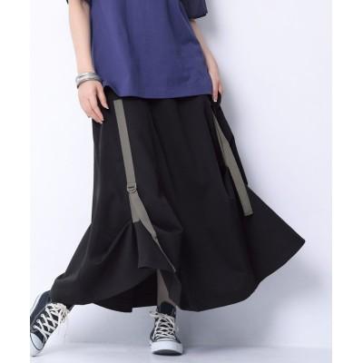 【オシャレウォーカー】 『シルエットアレンジドレープスカート』 レディース ブラック フリーサイズ osharewalker