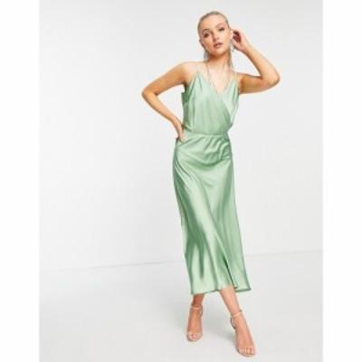 リカリッシュ Liquorish レディース ワンピース キャミワンピ ワンピース・ドレス satin midi cami dress in mint ミント
