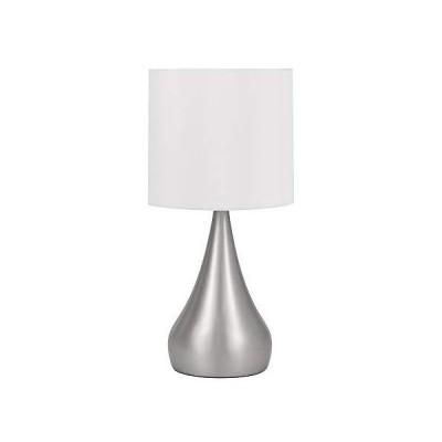 [新品]Catalina 18664-009 Contemporary Metal Table Lamp with White Shade, , Brushed Steel by Catalina Lighting