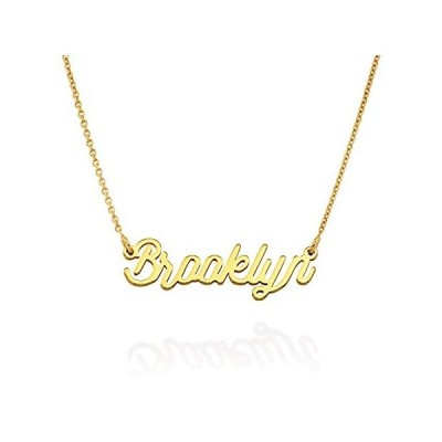 MyNameNecklace Personalized Script Nameplate Necklace in Sterling Silver 18