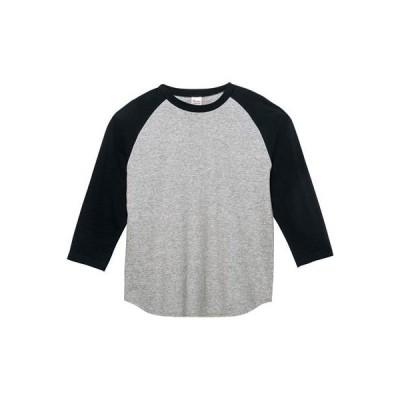[プリントスター] 7分袖 5.6オンス CRB ヘビーウェイト ベースボール Tシャツ モクグレー×ブラック 日本 L (日本サイズL相当)